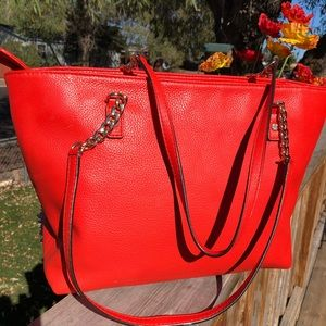 Michael kors leather tote coral color bag